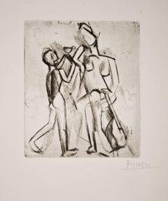 Deux figures nues: Femme à la guitare et garçon à la coupe (Bloch 17)