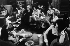 Hugh Hefner, Black and White Vintage Photo of Playboy Bunnies in the Mansion