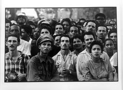 Waiting for Fidel Castro, Havana, Cuba, Black and White Photo of Cubans 1950s