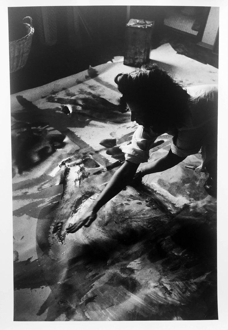 Burt Glinn Black and White Photograph - Helen Frankenthaler, B & W Portrait Photo of Woman Artist Painting in her Studio