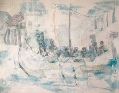 Journey of the Ice Ship, acrylic, ink, work on paper, signed by the artist