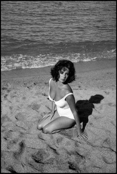Elizabeth Taylor, Black and White Celebrity Portrait Photograph on the Beach