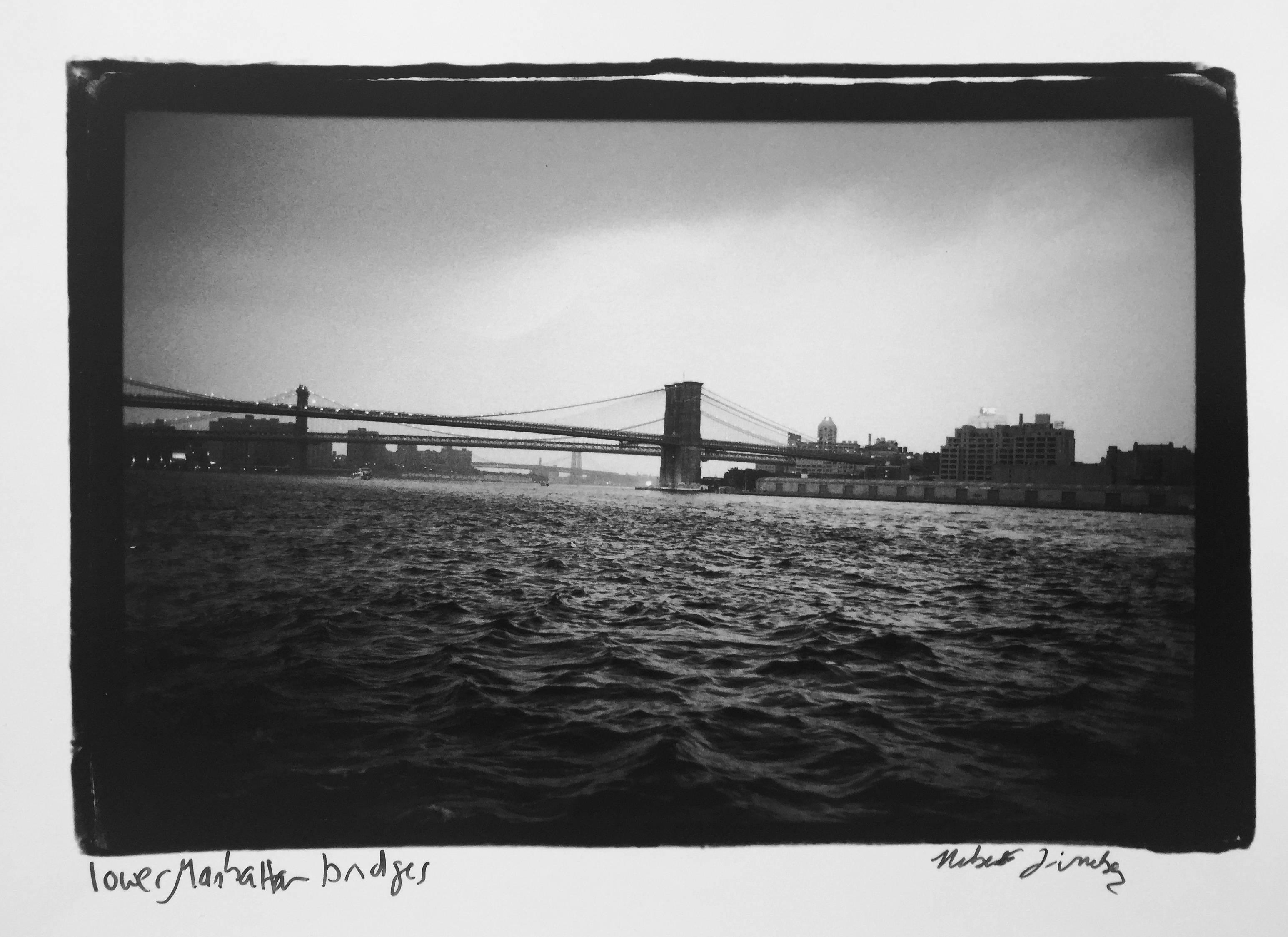 Lower Manhattan Bridges, New York City, Waterfront Photograph Gelatin Silver