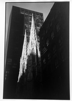Trinity Church Wall Street, A Black and White Photograph of New York City 1990s