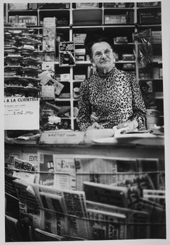 Shopkeeper, France, Black and White Street Photography Paris 1980s