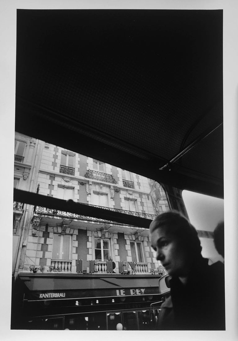 Roberta Fineberg Black and White Photograph - Bus Ride, Paris, France, Black and White Documentary Street Photography 1980s