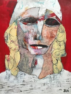 Ragvaal, acrylic, oil stick, work on paper, signed by the artist