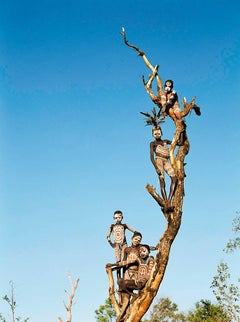 Tree, Contemporary Color Photo of Omo Valley Tribal Children in Ethiopia, Africa
