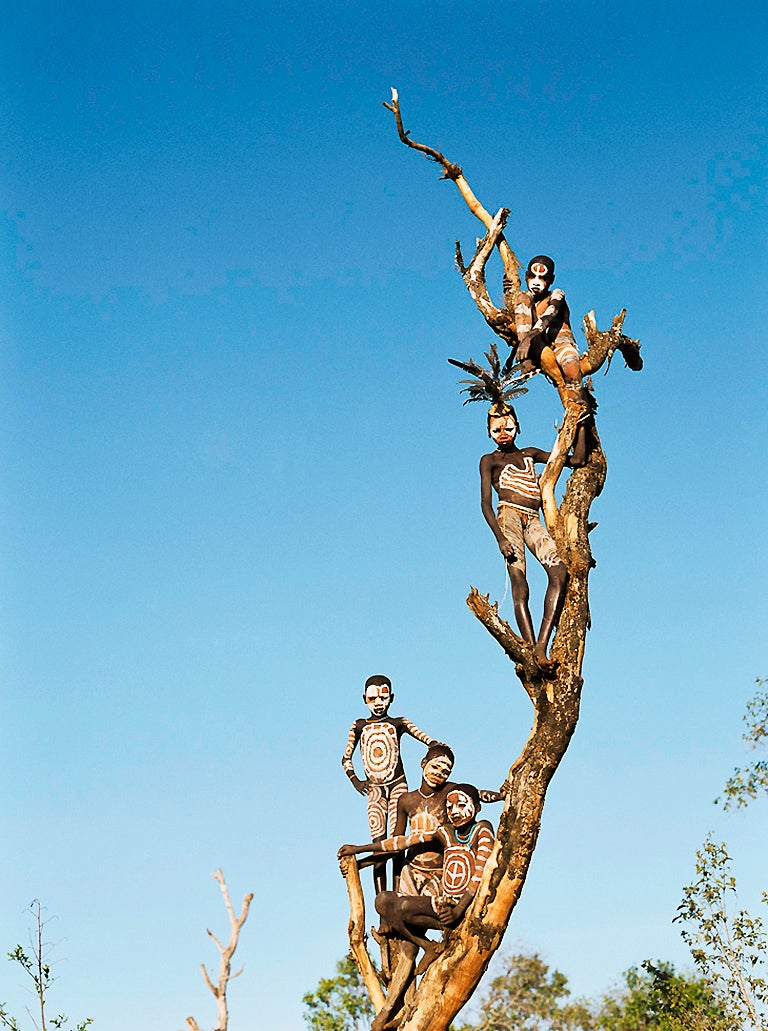 Tree, Photographic Portrait of Tribal Children in Omo Valley Ethiopia Africa