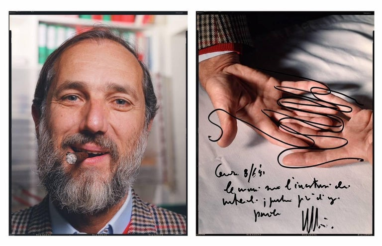 """in Jean-Michel Voge's diptych portrait of Renzo Piano, 17"""" x 24"""", the French photographer includes the great Italian architect's hands and a famous quote by Piano: """"Hands are meeting point of materials, they say more than any word."""" Renzo Piano is"""
