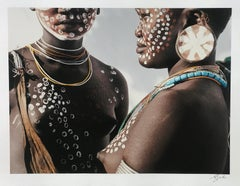 Two Sisters, Surma, Omo Valley, Ethiopia, Africa ,1996 by Jean-Michel Voge