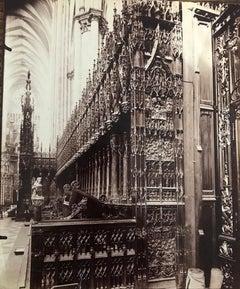 Stalles du choeur, Cathédrale d'Amiens by Eugene Atget, vintage albumen print