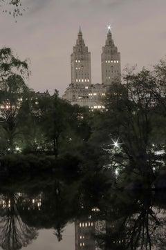Twin Greek Temples, New York City (nightfall), 2017 by Roberta Fineberg