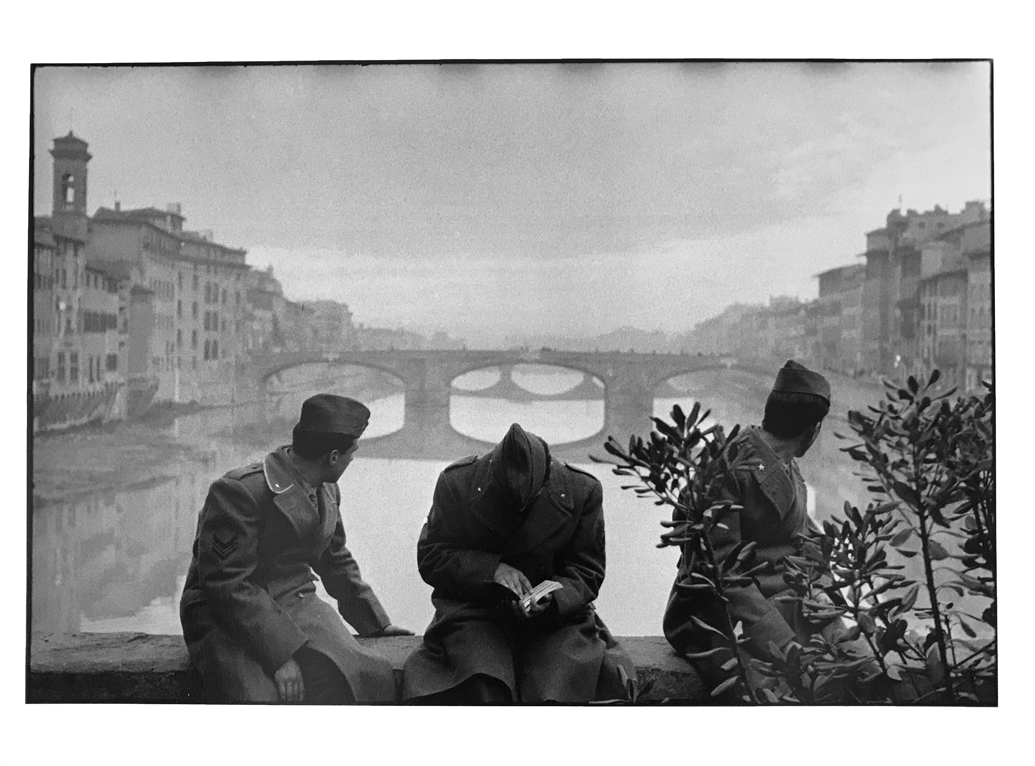 Arno river florence italy a black and white documentary photo of soldiers