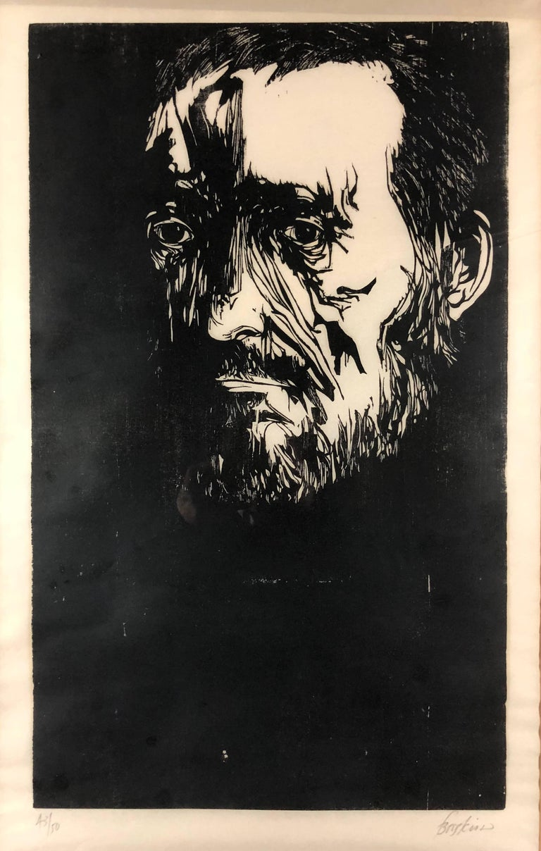 Leonard Baskin Figurative Print - Portrait of Thomas Eakins