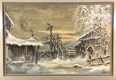 Winter Cabin Scene 1938