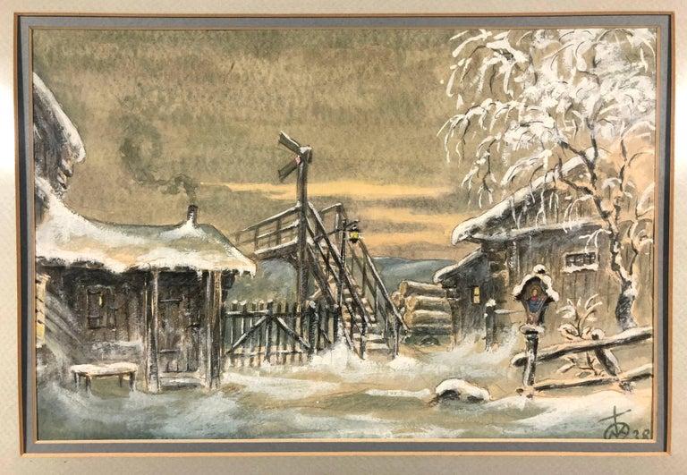 Unknown Landscape Art - Winter Cabin Scene 1938