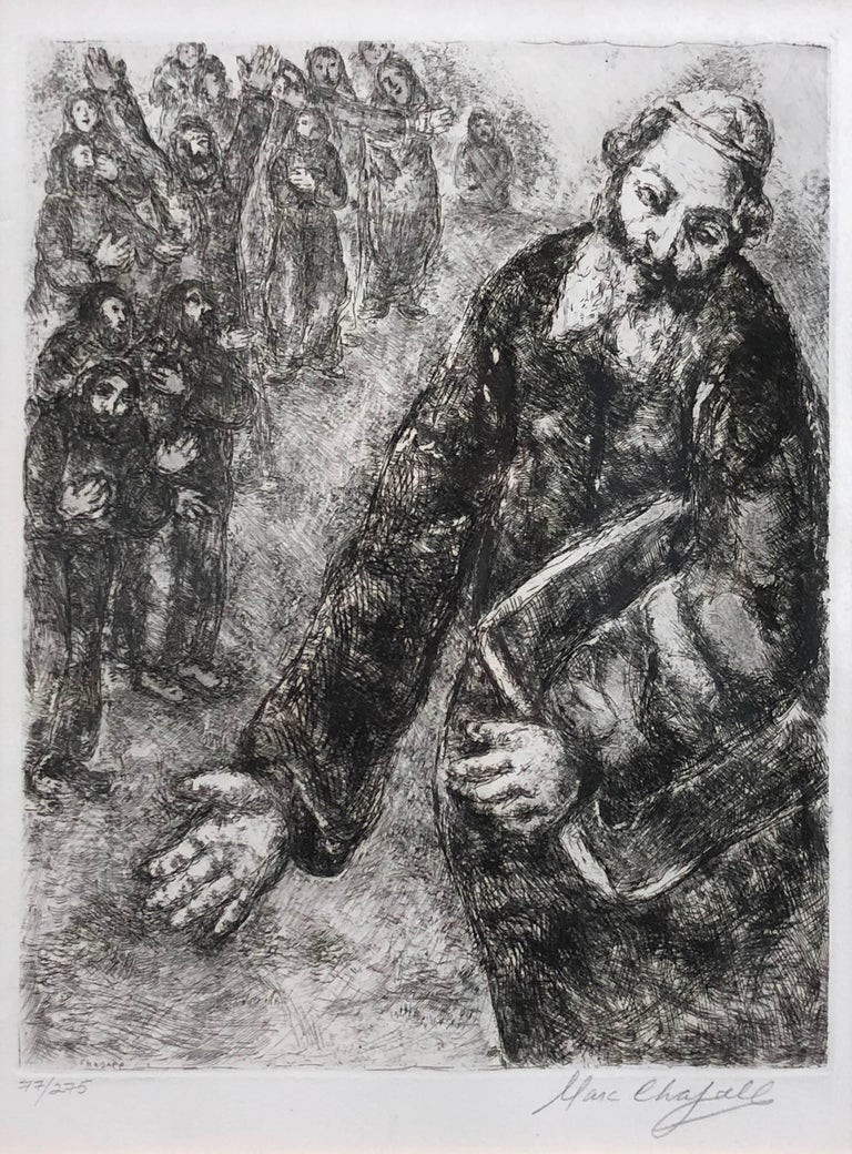 (after) Marc Chagall Figurative Print - Joshua Reads the Word of the Law (Pencil Signed)