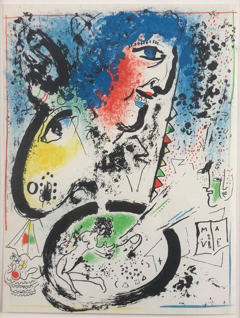 "Marc Chagall Figurative Print - Self-Portrait (Frontispiece for ""The Lithographs of Chagall, Vol. I)"