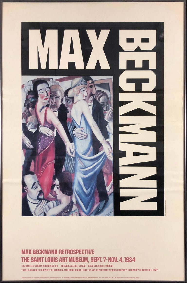 This is a vintage museum exhibition poster from the Max Beckmann Retrospective at the Saint Louis Art Museum, 1984.