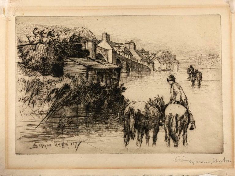 Seymour Haden Landscape Print - Wareham Bridge