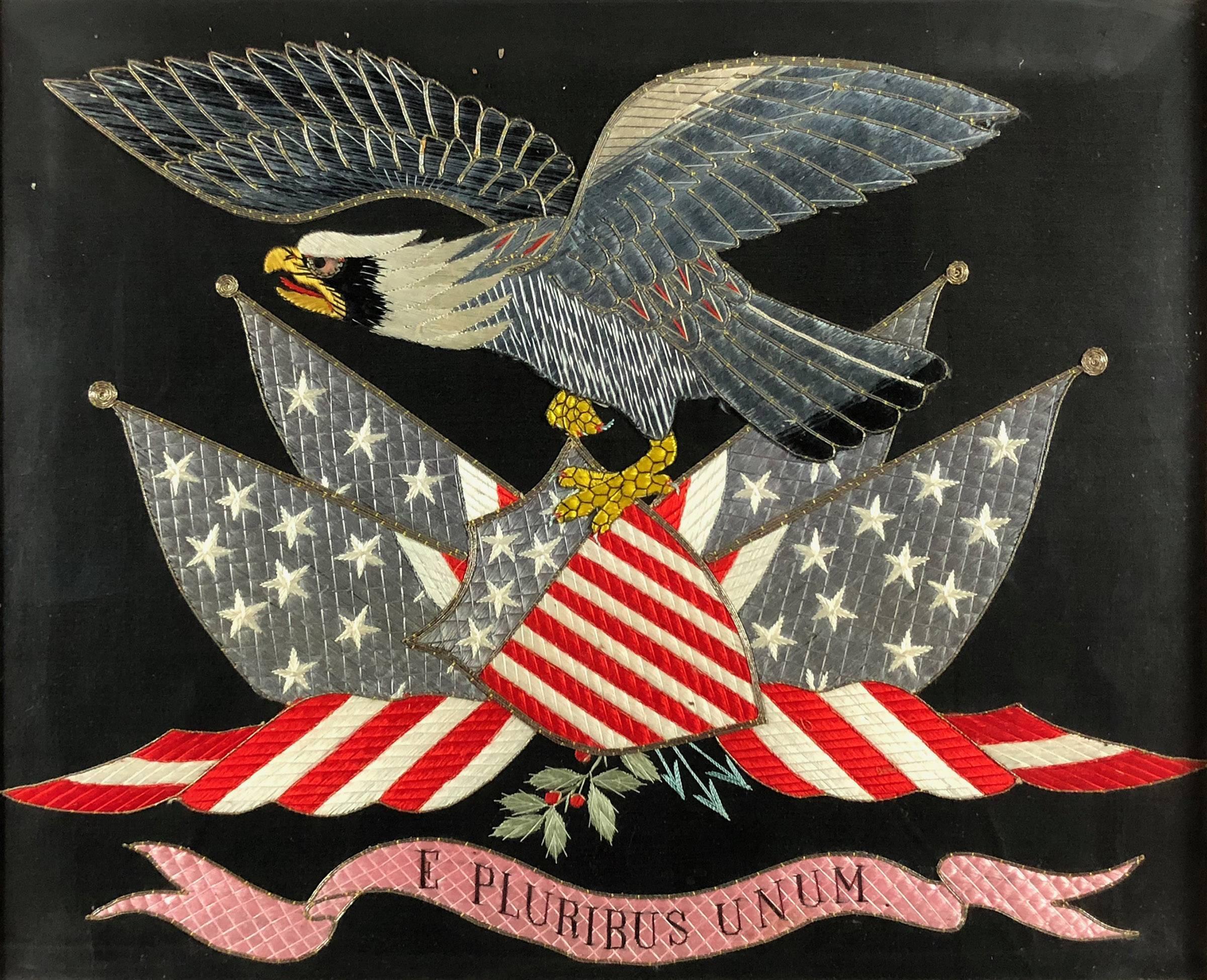 19th Century American Federalist Silk Embroidered Flag