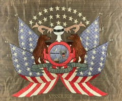 19th Century American/Missouri State Silk Embroidered Flag