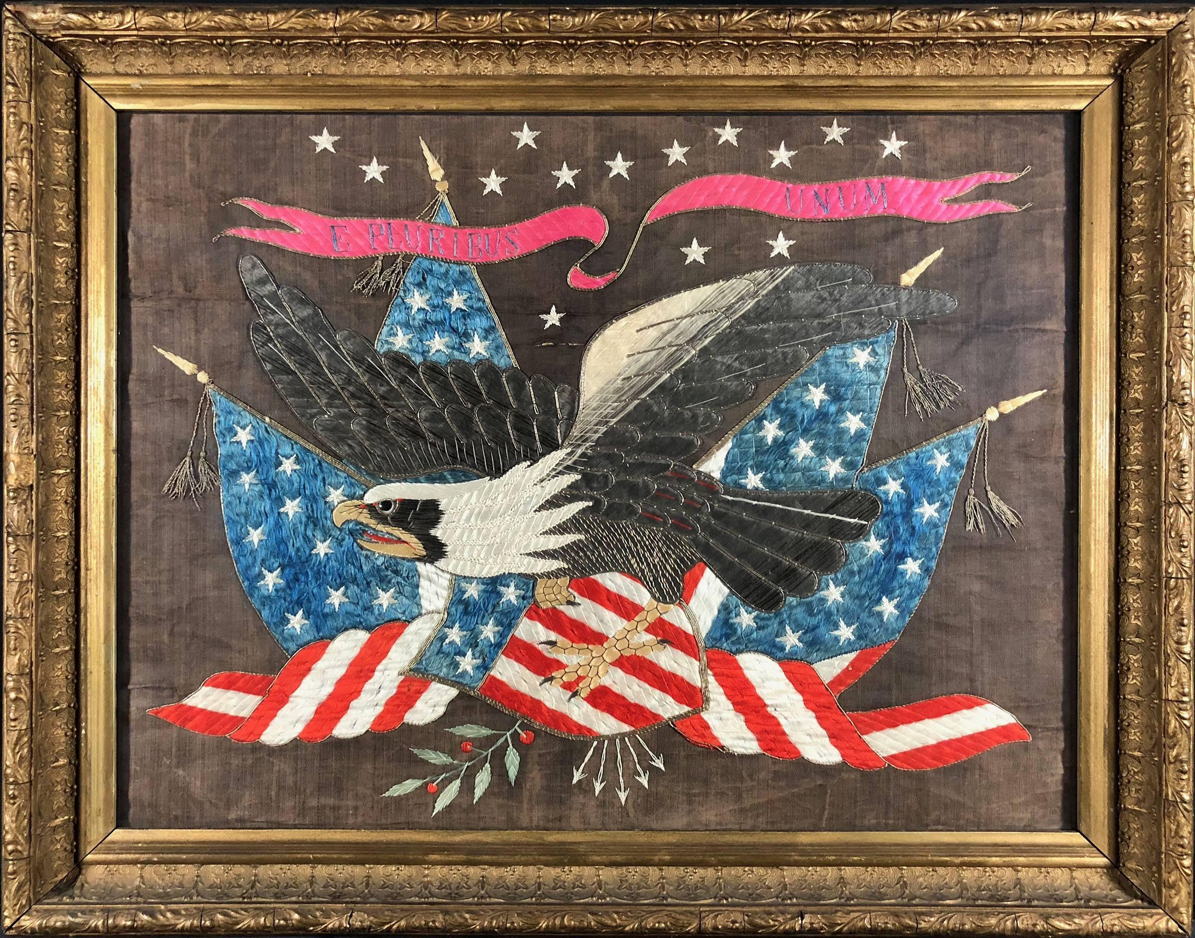 19th C. American Federalist Flag Silk Embroidery