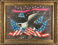 19th C. American Federalist Flag Silk Embroidery