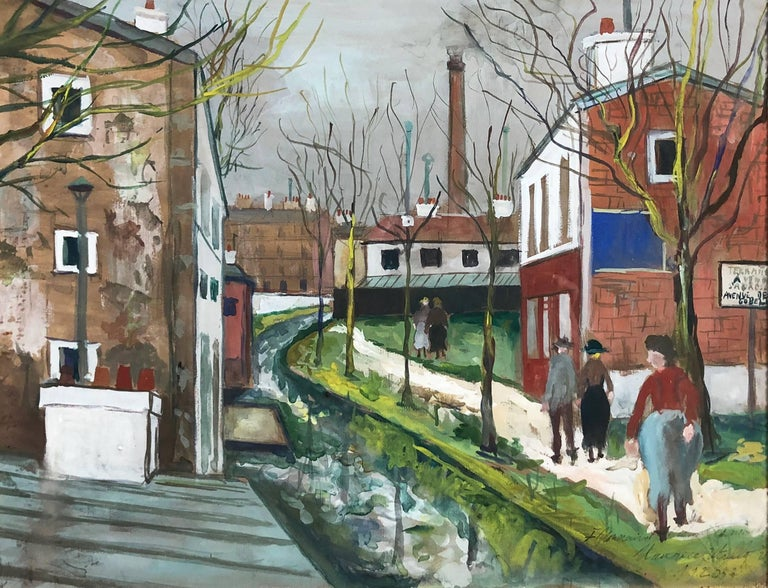 Les Usines En Banlieue - Painting by Maurice Utrillo