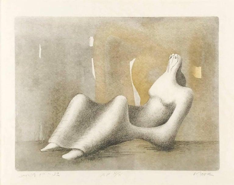 Henry Moore Figurative Print - Reclining Figure - Dawn