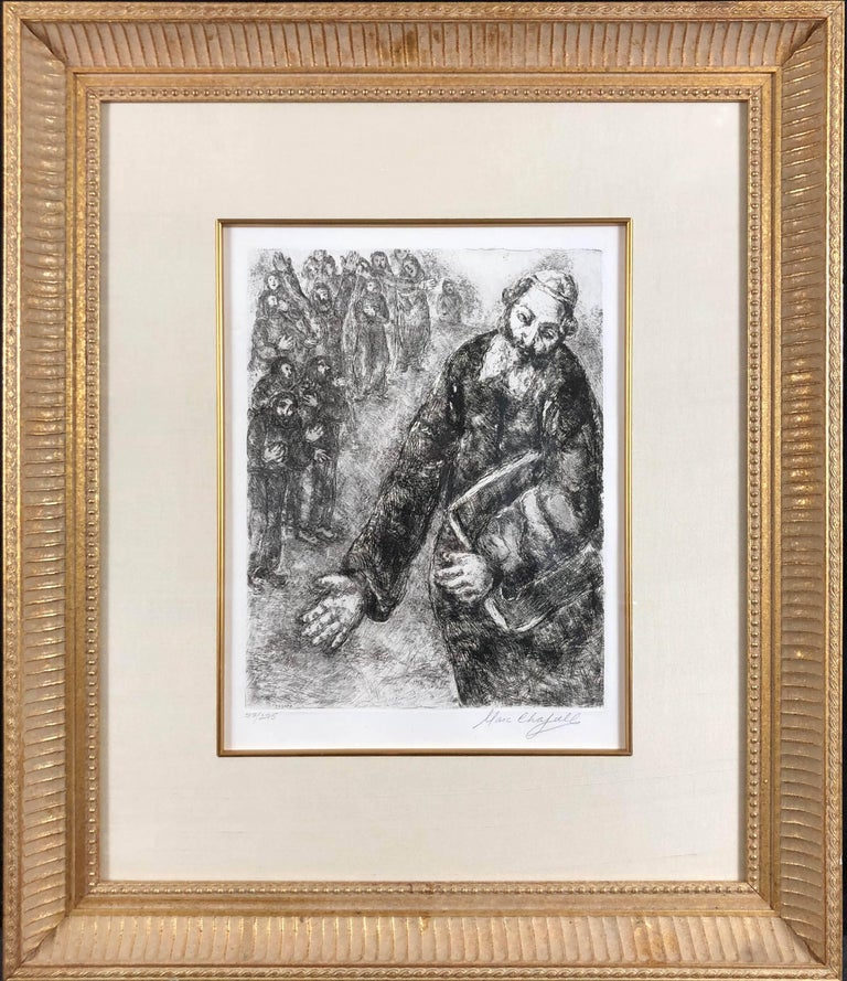 Joshua Reads the Word of the Law (Pencil Signed) - Print by (after) Marc Chagall