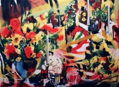 "Contemporary Oil Painting with Florals, ""Manhattan Multiplex"""
