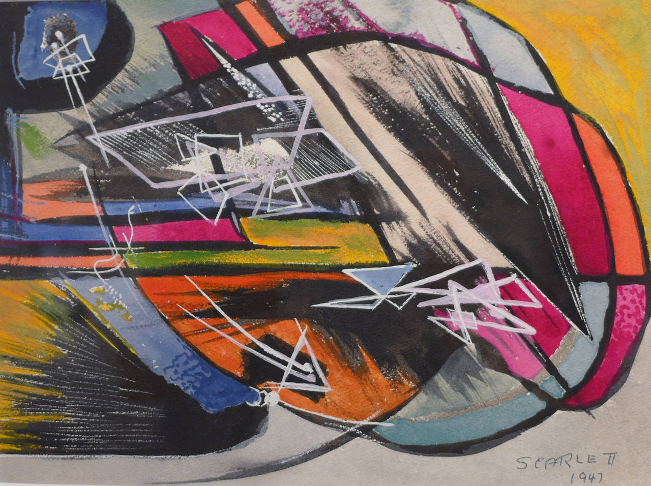 """""""Abstraction,"""" Rolph Scarlett, ca 1947, abstract expressionism, gouache"""
