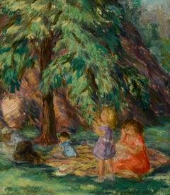 """Central Park Picnic,"" Lydia Freeman Cooley, New York, figurative, ca 1930's"