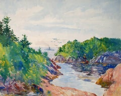 """Summer Cove,"" Philip Little, gouache, watercolor, coastal, impressionist"