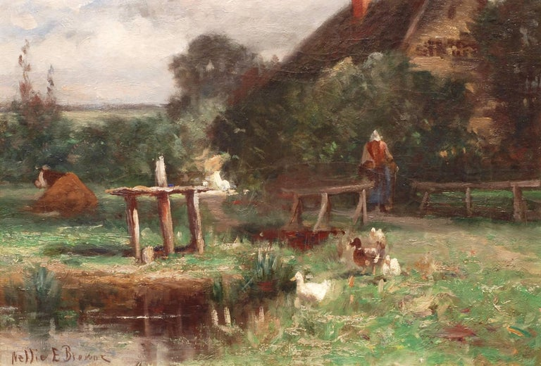 Nellie E. Brown (fl. 1890-1910) Landscape Painting - In the Farmyard