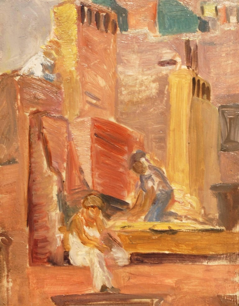 """""""Construction Workers,"""" Lydia Freeman Cooley, oil, figurative, ca 1930's - Painting by Lydia Freeman Cooley"""