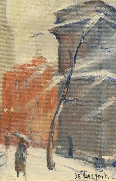 Bela DeTirefort Landscape Painting - Winter, Washington Square