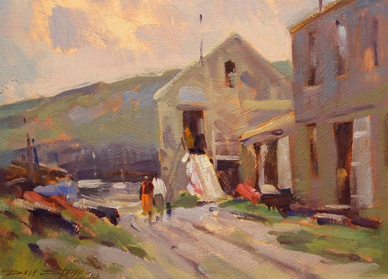 Paintings Of Cobblestone Paths : Don stone path to fish beach painting for sale at stdibs