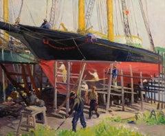 """Dry Dock Schooner"" American Impressionist landscape, Cape Ann School painting"
