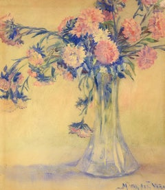 """""""Pink and White Carnations"""" Mary Van der Veer, still life, watercolor, 1900-1910"""