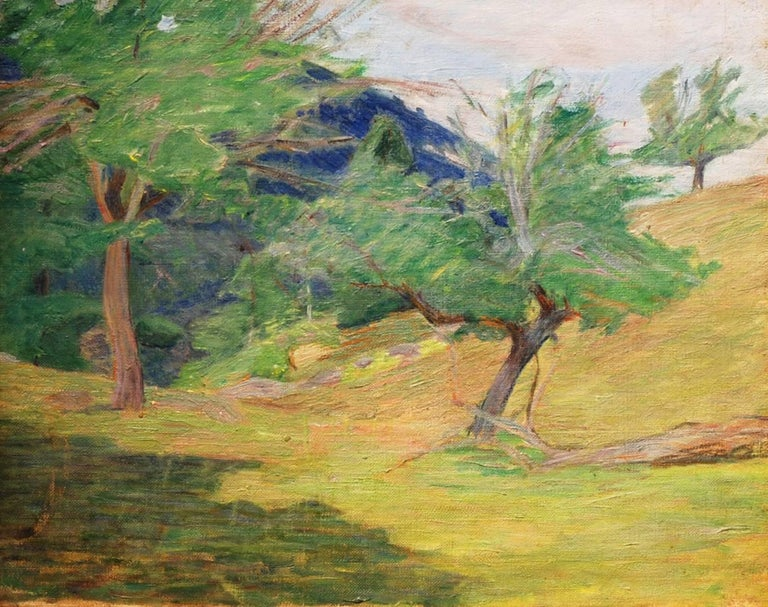 """""""Grove of Trees,"""" Lucy Hariot Booth, oil, landscape, impressionist, late 19th c. - Painting by Lucy Hariot Booth"""