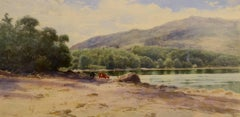 """Long Pond, Mt. Desert Island"" Samuel Peter Rolt Triscott, watercolor, landscape"