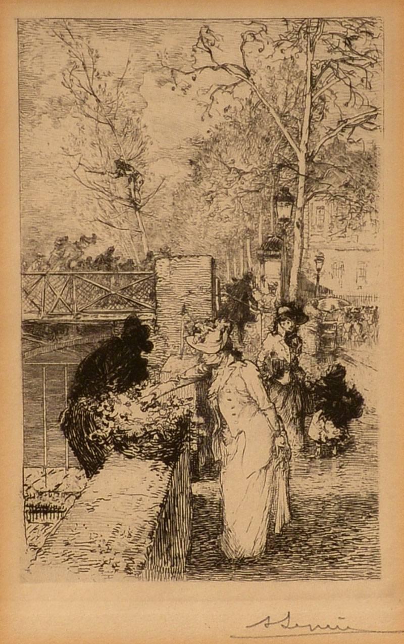 """""""Flower Seller, Paris,"""" Auguste Louis Lepère, etching, ca. 1890-1900, figurative"""