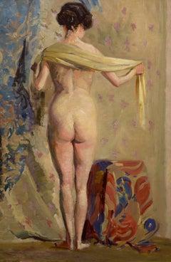 """In Her Dressing Room,"" Helena Sturtevant, oil, impressionist, nude, ca 1910-20"