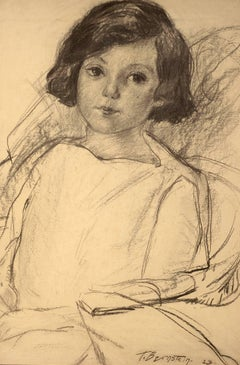 """""""Young Girl Seated,"""" Theresa Bernstein, charcoal, 1923, portrait, women artists"""