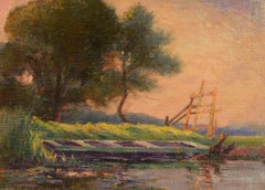 """Punt on the River,"" William Dennis, impressionist, 1910-20, rural landscape"