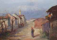 """Road Through the Village,"" Alberto Zampieri, oil, figurative, landscape, 1930s"