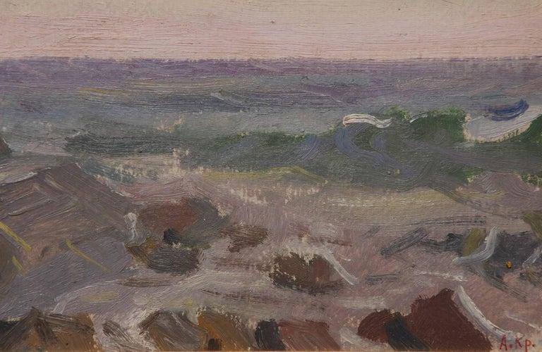 Alexei Krasnov Landscape Painting - Crashing Waves